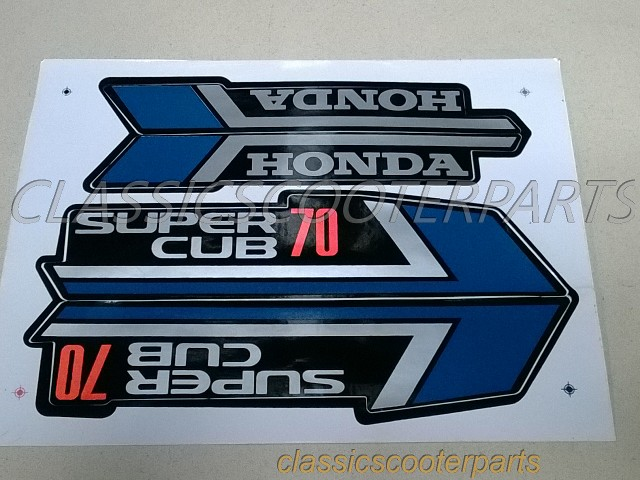 honda c70 super cub 70 blue paper stickers logos emblems
